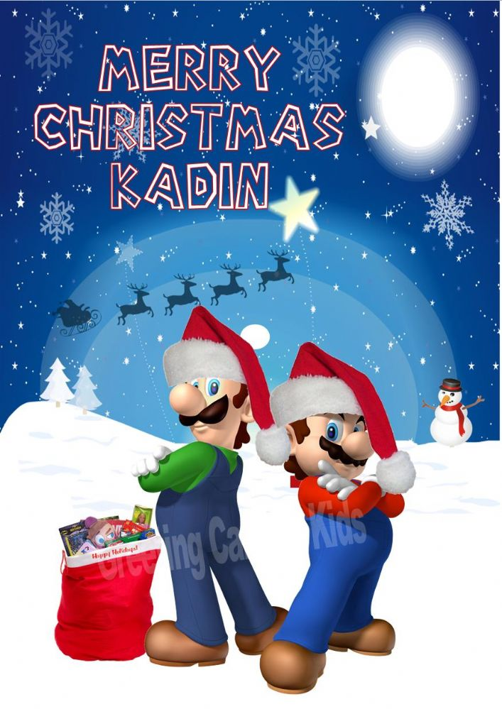 Personalised Super Mario Brothers Christmas Card